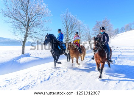 three female riders riding relaxed in wintry nature #1251912307