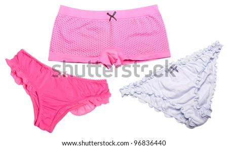 Three female underpants of different types isolated on white background