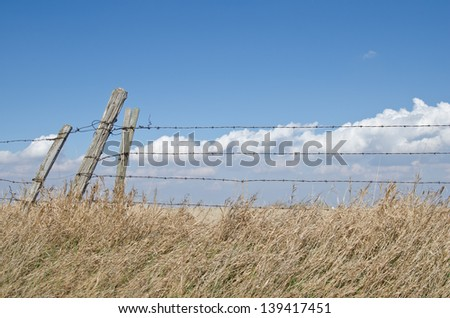 Three fence posts and barbed wire fence with cloudy blue prairie sky
