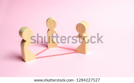Three figures of people with voids inside the body in the form of halves of the heart are connected by lines. Love triangle concept. Unrecognized love, love relationships, confrontation of lovers.