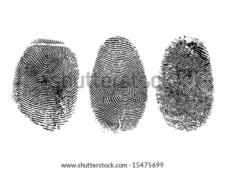 Three finger prints isolated on white