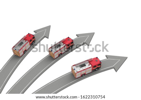 three fire engine go in different directions isolated on white above view. 3d rendering