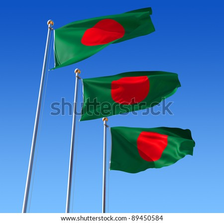 Three flags of Bangladesh waving in the wind against blue sky. Three dimensional rendering illustration.