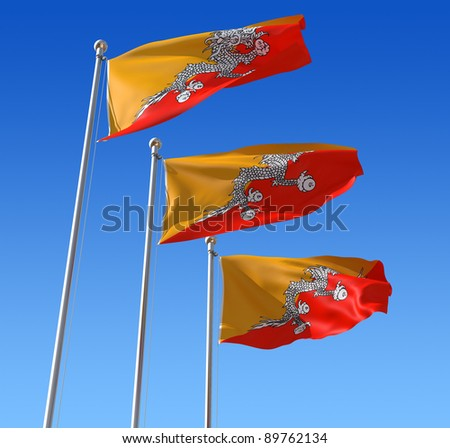 Three flags of Bhutan waving in the wind against blue sky. Three dimensional rendering illustration.