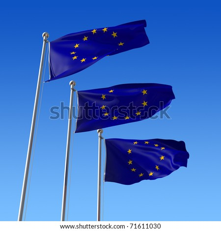 Three flags of Europe Union against blue sky. 3d illustration.