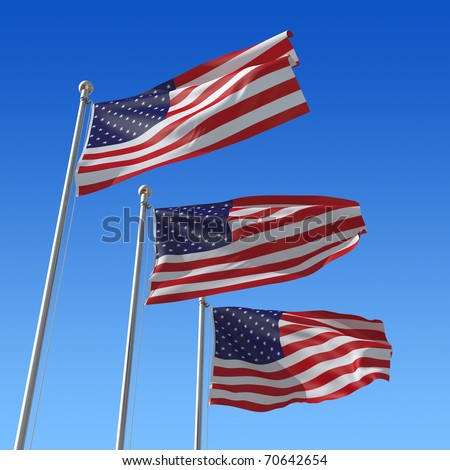 Three flags of USA with flag pole waving in the wind against blue sky.