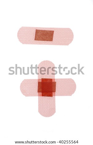 Three flesh colored bandages isolated against white background.