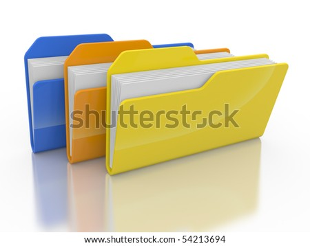 Three folders and files on a white background