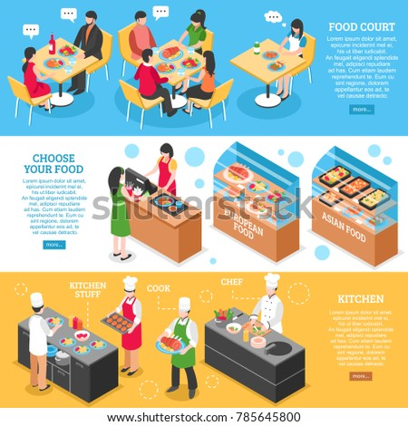 Three food court horizontal banners set with isometric restaurant visitors cooks characters and read more button  illustration