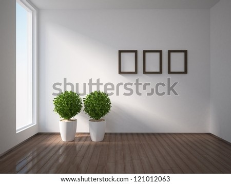 three frames on the white wall
