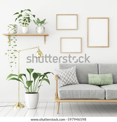 Three frames poster mock up in scandinavian livingroom interior with sofa and green plants. 3d rendering. #597946598
