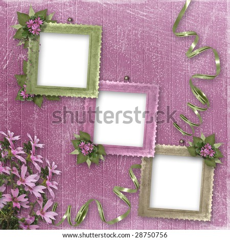 Three frameworks for photo on the pink background