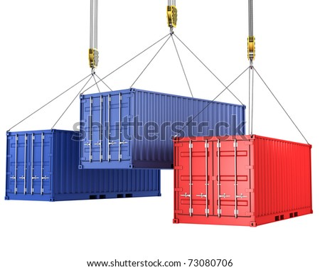 Three freight containers are being hoisted, isolated on white background