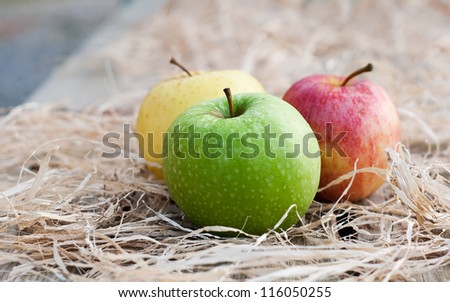 Three fresh apples on hey - stock photo