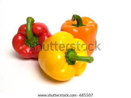 Three fresh bell peppers