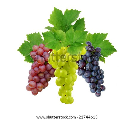 Three fresh grapes with leaves