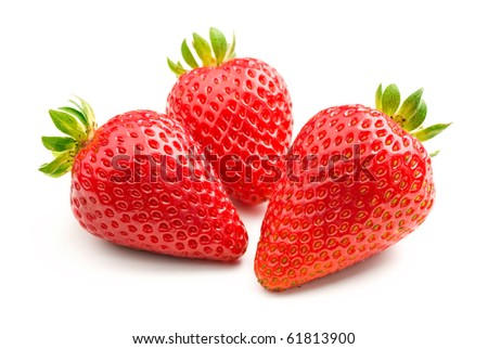 Three fresh strawberries isolated on white background.