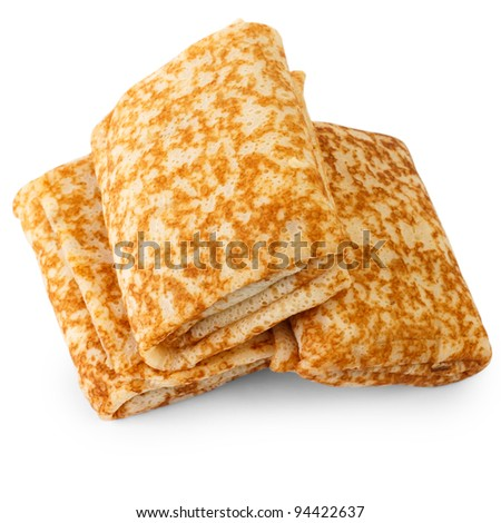 three fried pancake on a white background