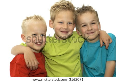 Three friends holding each other, loving and hugging.