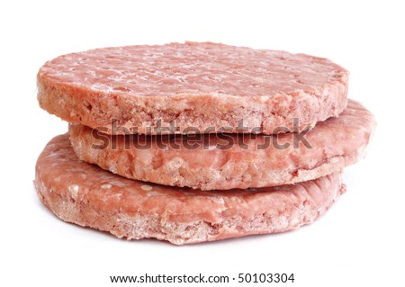 Three Frozen Hamburger Patties Isolated on White Background - stock photo