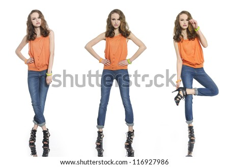 Three full body young woman in jeans casual clothes posing