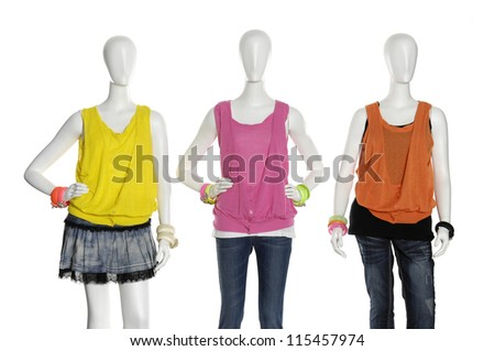 Three full length female in colorful shirt clothing on white