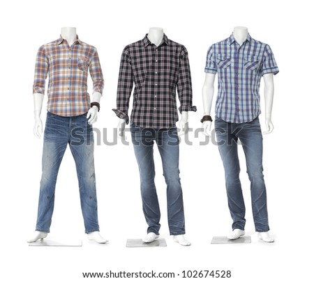 Three full length three male mannequin dressed in jeans with striped shirt