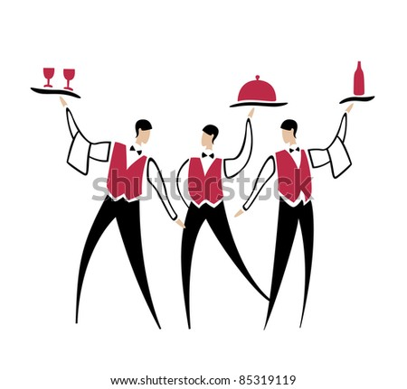 Three funny cheerful waiters with dish bottle and wineglasses