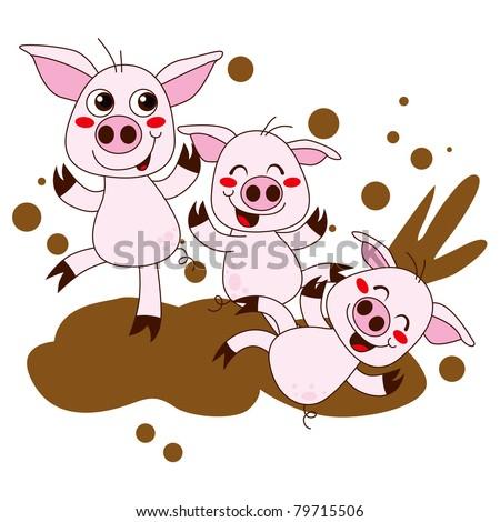 Cartoon Pig In Mud Puddle Three funny pig cartoon