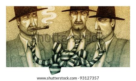 Three gangsters in ties