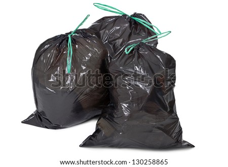 three garbage bags on white background