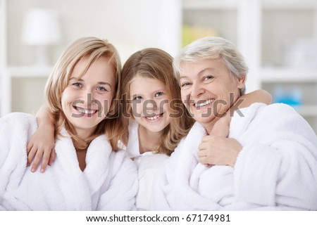Three generations of women in the home