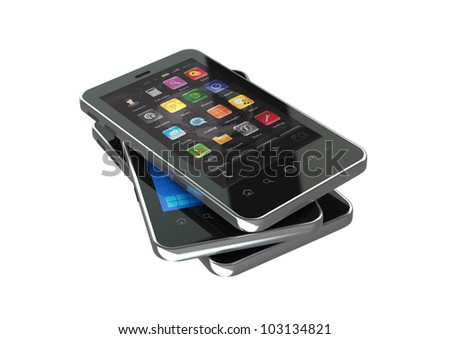 Three generic smart phone on top of each other and showing different application screen