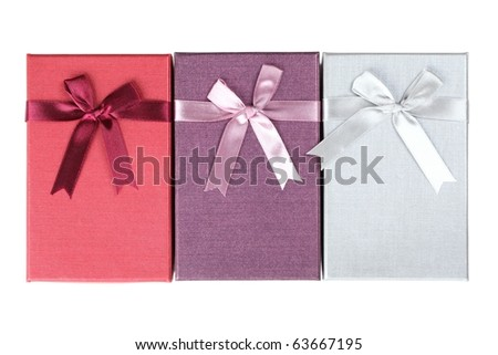 Three gift Box with bow,Isolated on white.