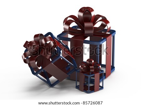 three gifts, abstract design - 3d illustration isolated on white