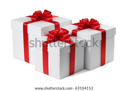 Three gifts with ribbons end bows isolated on the white background, clipping path included.