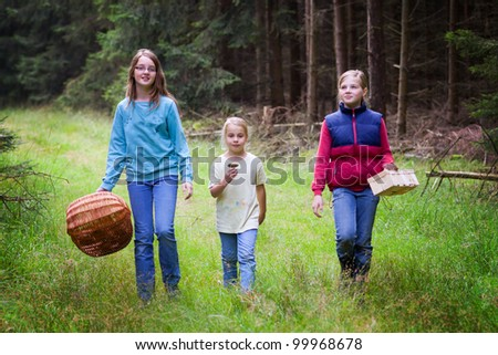 three girls on a mushroom foray