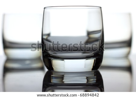 Three glass isolated over white background