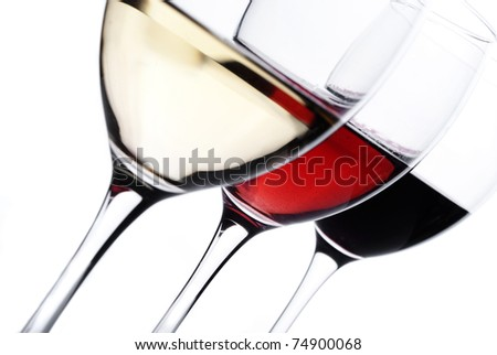 Three glass of wine - stock photo