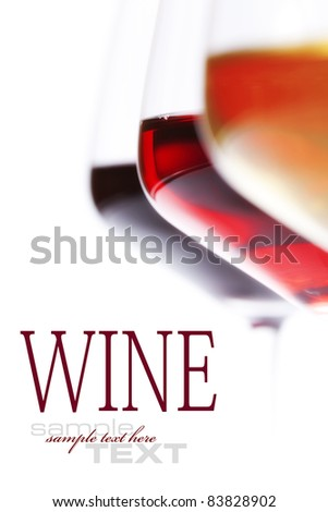 Three glass of wine  over white (with sample text)