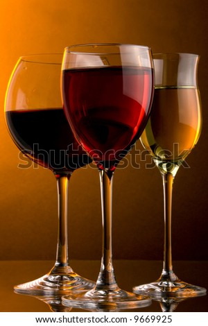 three glass red,rose and white wine