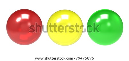 Three glass spheres of different shades on a white background