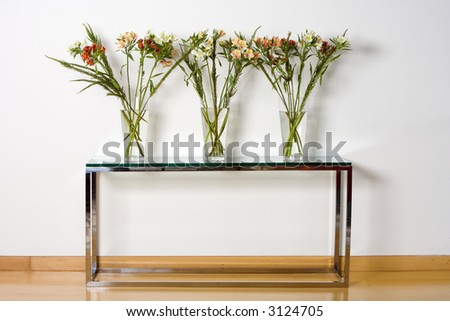 Three glass vases with plants standing over a modern metal and glass table