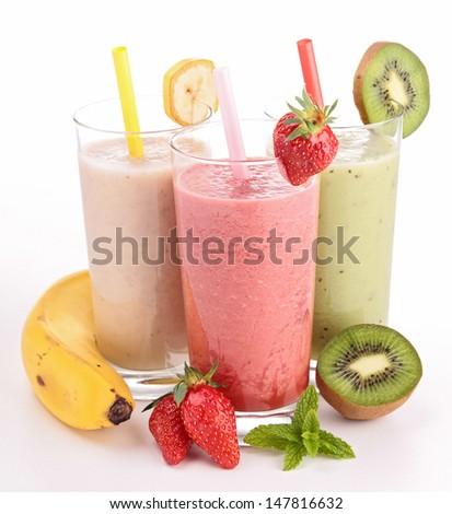 three glasses of smoothies