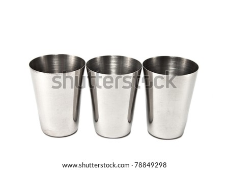three glasses of stainless steel