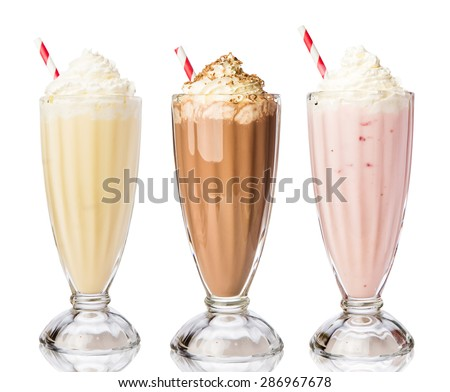 Three glasses of various milkshakes (chocolate, strawberry and vanilla) isolated on white background Stock photo ©