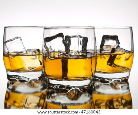 Three glasses of whiskey in a row