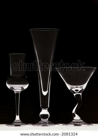 Three glasses on on black