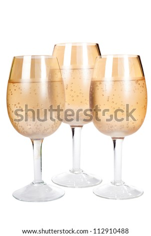 three glasses on the isolated white background