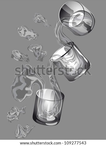 three glasses with a transparent flowing water